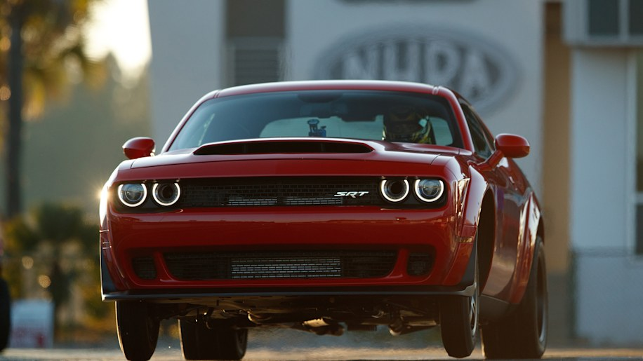 2018 Dodge Demon taking off from stand still.