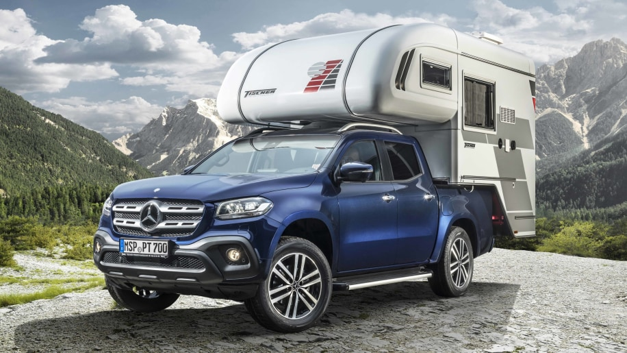 mercedes benz shows 2018 x class pickup truck concepts in camping and cooking configurations. Black Bedroom Furniture Sets. Home Design Ideas