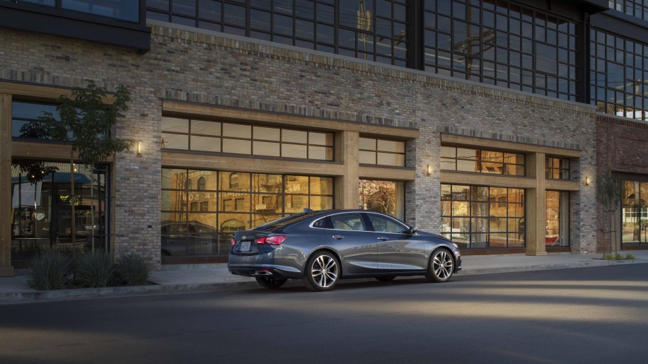 2019 Malibu Premierâs new rear valance pushes the dual-exhaust outlets farther toward the corners, emphasizing the carâs width, while new taillamps deliver a more dramatic execution of Chevroletâs signature dual-element design.