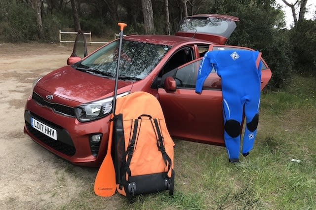 Paddleboarding in a Picanto