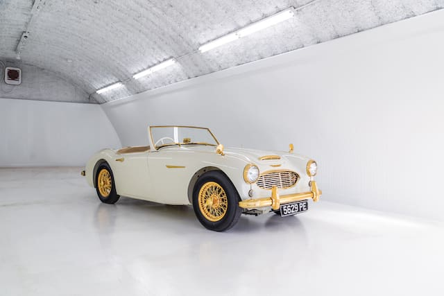 Gold-plated Austin Healey heads to auction