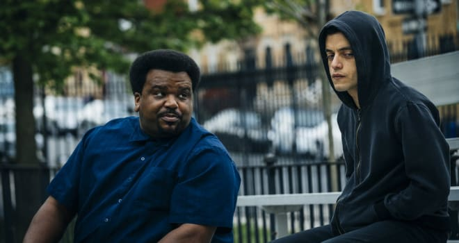 Craig Robinson and Rami Malek in MR ROBOT Season 2