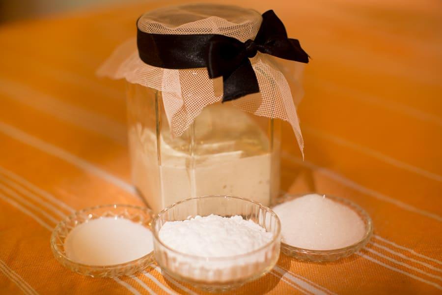 You will need sourdough starter, sugar, salt and bi-carb