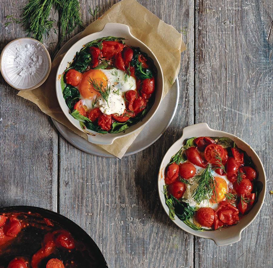 Oozy, gooey baked eggs with roma tomatoes and