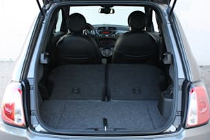 2013 Fiat 500e cargo area seats folded down