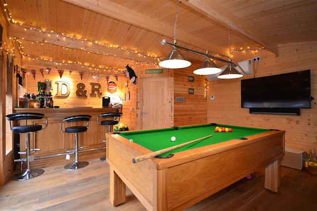 The bar in a shed.