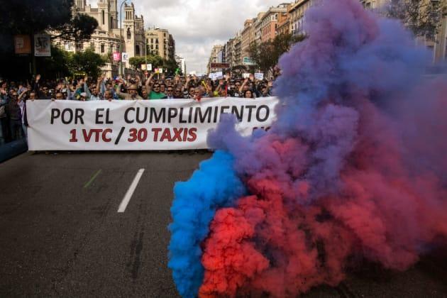 Protestas del gremio del taxi en Madrid contra las plataformas VTC (Abril,