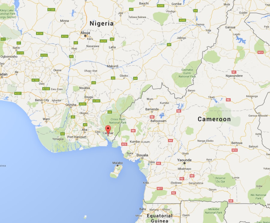 The men were abducted near Calabar, Nigeria, near the border with