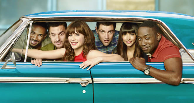 NEW GIRL:  Cast L-R:  Damon Wayans, Jr., Jake Johnson, Zooey Deschanel, Max Greenfield, Hannah Simone and Lamorne Morris. The fourth season of NEW GIRL premieres Tuesday, Sept. 16 (9:00-9:30 PM ET/PT) on FOX.  ©2013 Fox Broadcasting Co. Cr: Autumn DeWilde/FOX
