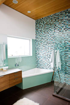 B7B47X Brown and turquoise bathroom, home, decor, tile, shower, towel, window, sink, soap, counter, clean, rug