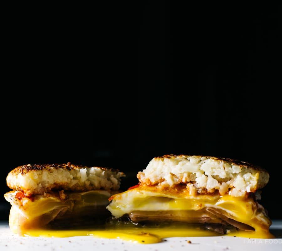 I Am A Food Blog's hash brown breakfast sandwich is swoonworthy. Recipe