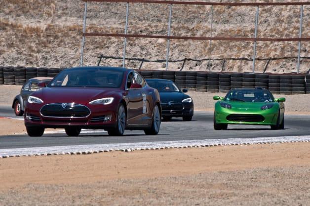Tesla Model S on track at Refuel 2014