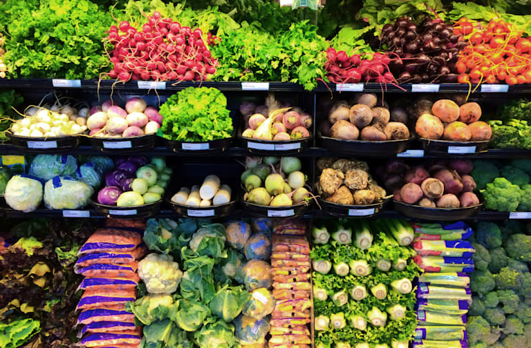 Grocery Produce Display in Supermarket Store Refrigerator