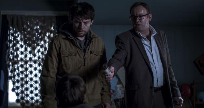 Patrick Fugit, Philip Glenister in Cinemax's OUTCAST
