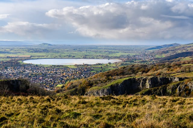 Cheddar Resevoir and the Somerset Levels from Cheddar Gorge