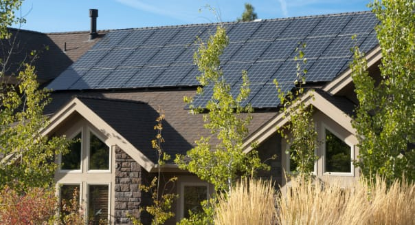 This home shows a close up of the electric solar panels.
