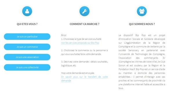 Interface d'utilisation du site Bip