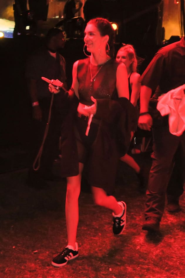 AG_190659 -  - Indio, CA - Kendall Jenner wraps up day one of the Coachella Valley Music And Arts Festival with friends French Montana and Hailey Baldwin. She is seen in all sheer as she exits the Travis Scott set.Pictured: Kendall Jenner, French Montana, Hailey BaldwinAKM-GSI 14 APRIL 2017BYLINE MUST READ: EVGA / AKM-GSI Maria Buda(917) 242-1505mbuda@akmgsi.com Mark Satter(317) 691-9592msatter@akmgsi.com or sales@akmgsi.com