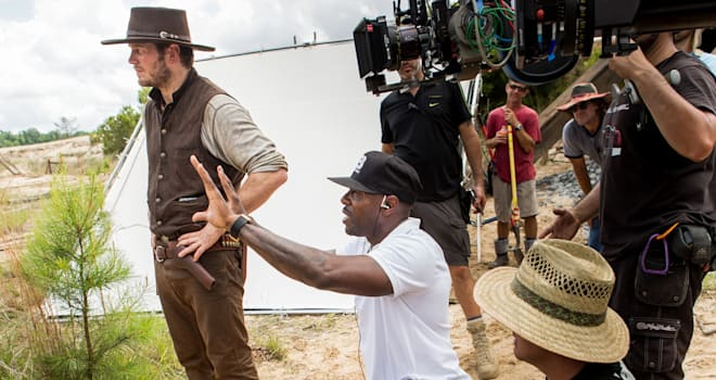 Chris Pratt and director Antoine Fuqua on the set of Metro-Goldwyn-Mayer Pictures and Columbia Pictures' THE MAGNIFICENT SEVEN.