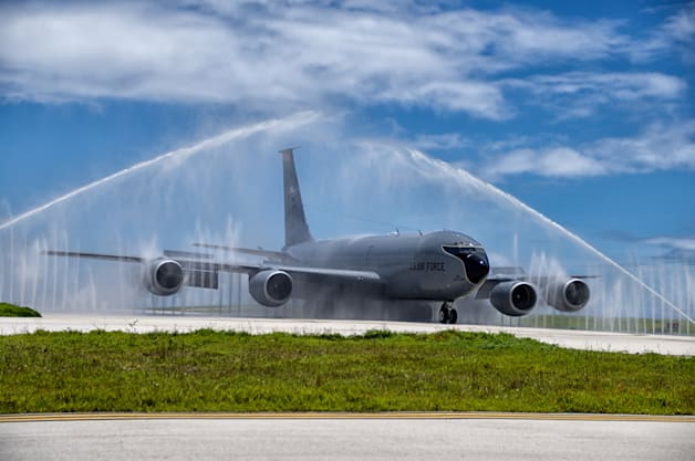 bird bath Guam jet wash KC135 plane refueled