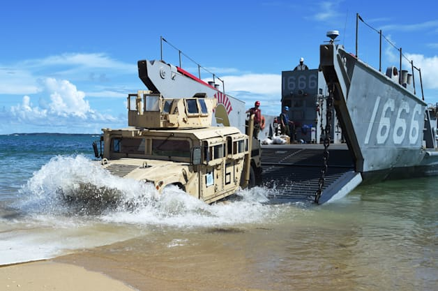 Humvee Naval beach Unit 7 NBU 7 landing craft utility Peleliu Amphibious Ready Group #PELARG14 31st Marine Expeditionary Unit 7th Fleet are of responsibility