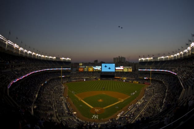 USAF United States Air Force U.S. Air Force Air Combat Command ACC Air National Guard ANG Air Force Birthday AFBday 177th Fighter Wing NJ New Jersey Atlantic City NYC New York Yankee Stadium flyover F-16C Fighting Falcon baseball MLB