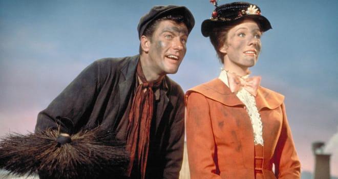 mary poppins, bert, julie andrews, dick van dyke, mary poppins returns