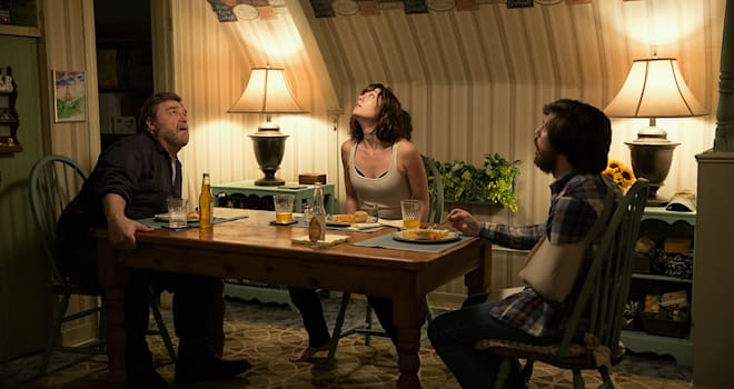 John Goodman as Henry; Mary Elizabeth Winstead as Michelle; and John Gallagher Jr. in 10 CLOVERFIELD LANE; by Paramount