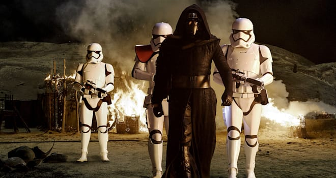 kylo ren and stormtroopers in STAR WARS THE FORCE AWAKENS