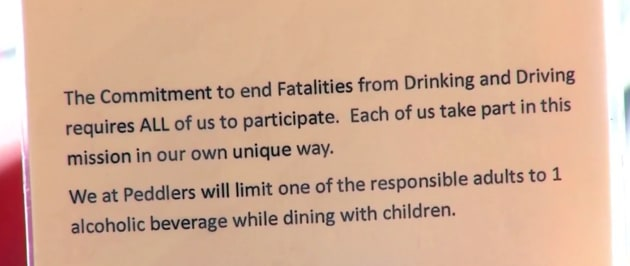 Peddler's Bar And Bistro has a one-drink rule for parents dining with their