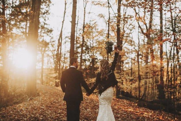 Jordana Halpert and her hubby John on a hike following their wedding