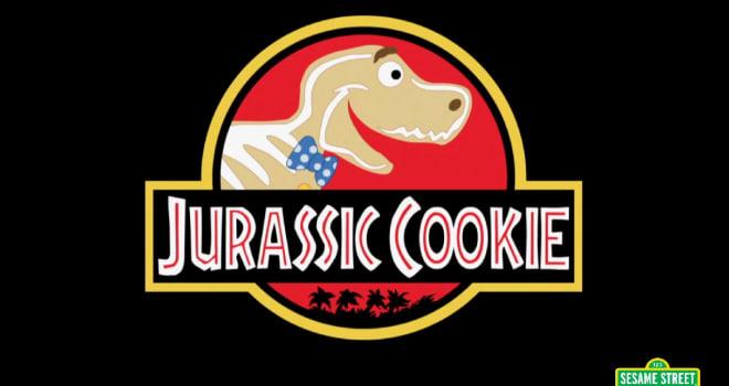 jurassic park, sesame street, cookie monster, sesame street parody