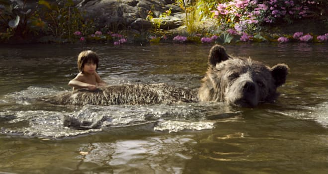 mowgli and baloo in disney's THE JUNGLE BOOK