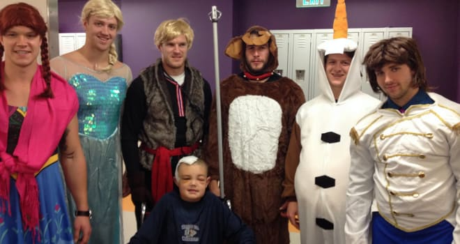 Boston Bruins dressed as Frozen for Halloween
