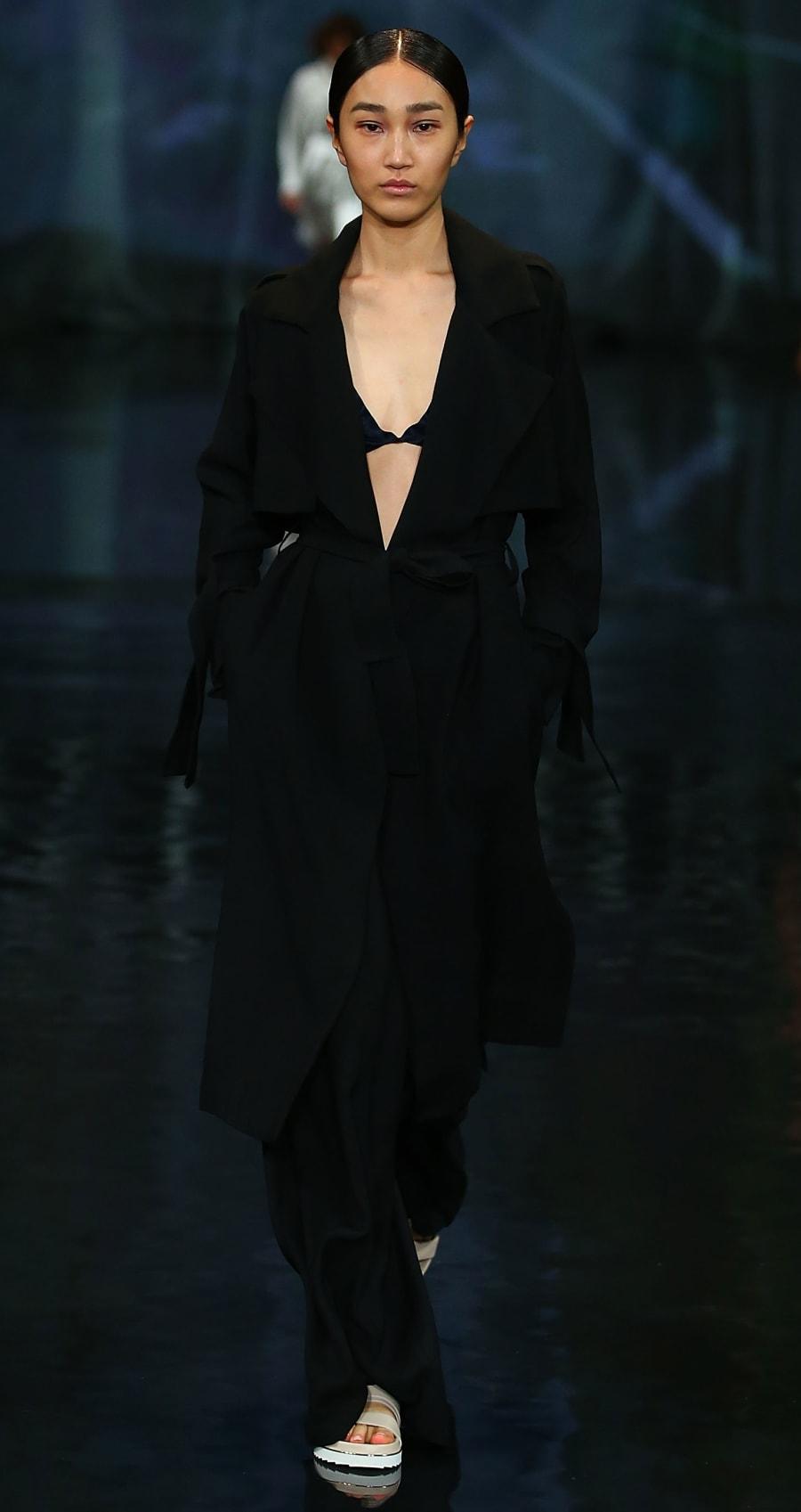 A model showcases designs by Victoria &