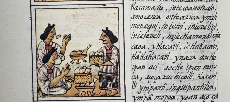 Fragmento del Códice Florentino que narra un festín para un señor azteca, el cual incluye carne de