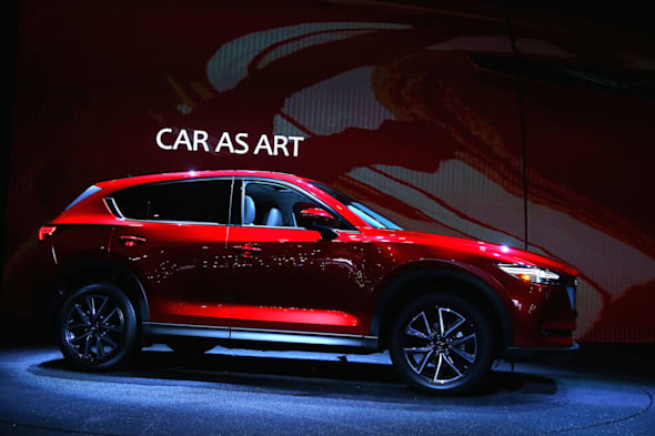 LOS ANGELES, CA - NOVEMBER 16:  The new Mazda CX-5 is seen onstage at the L.A. Auto Show on November 16, 2016 in Los Angeles, California.  (Photo by Victor Decolongon/Getty Images for Mazda Motor Co.)