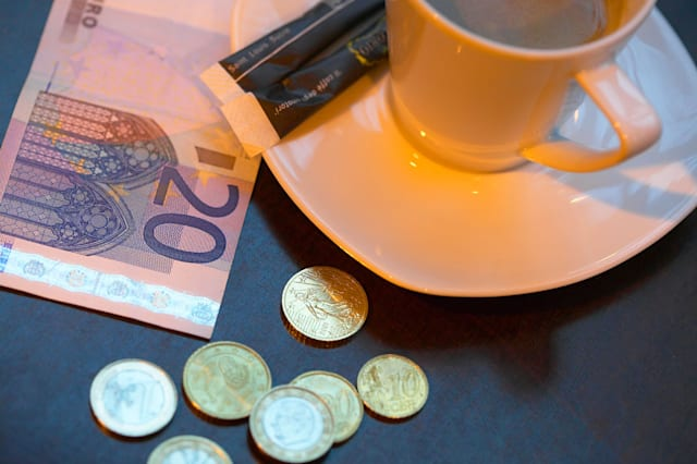 AK998B Coffee Cup and Euros in Paris Cafe