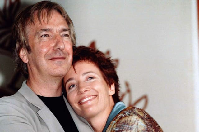 """British actor Alan Rickman (L) embraces actress Emma Thompson during a photo call at the 54th Venice Film Festival, August 28. Rickman makes his debut as a director in the human drama """" The Winter Guest"""", starring Oscar-winner Emma Thompson, one of 18 films showing at the Venice Film Festival.ITALY FILM FESTIVAL"""