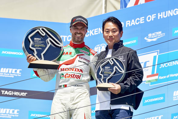 2017 EVENT: Race of Hungary TRACK: Hungaroring TEAM: Castrol Honda World Touring Car Team CAR: Honda Civic wtccDRIVER: Tiago Monteiro is the winner of Race 1