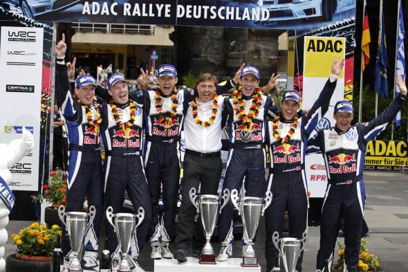 Jari-Matti Latvala (FIN), Miikka Anttila (FIN), Sébastien Ogier (F), Jost Capito, Julien Ingrassia (F), Andreas Mikkelsen (NOR), Ola Fløene (NOR)WRC Rally Germany 2015
