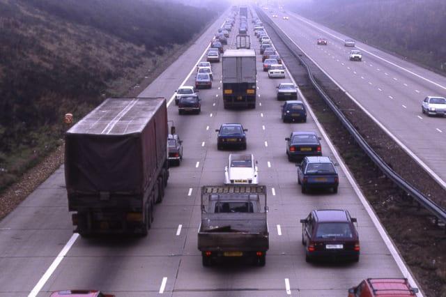 M25 Motorway at Reigate in Surrey. England. Traffic jam