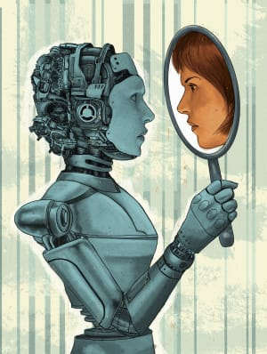 Female robot holding mirror with face of woman reflection