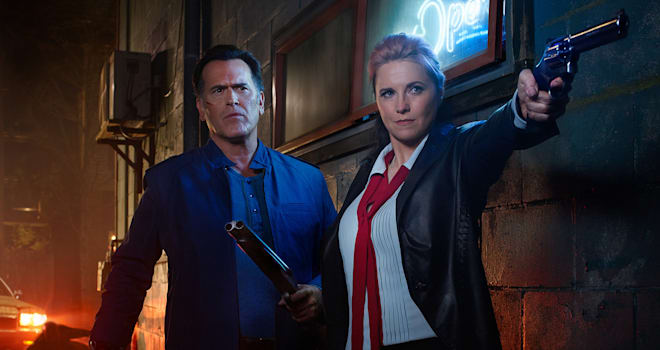 "ash williams (bruce campbell) ruby cross (lucy lawless) in ""ash vs. evil dead"" season 2"