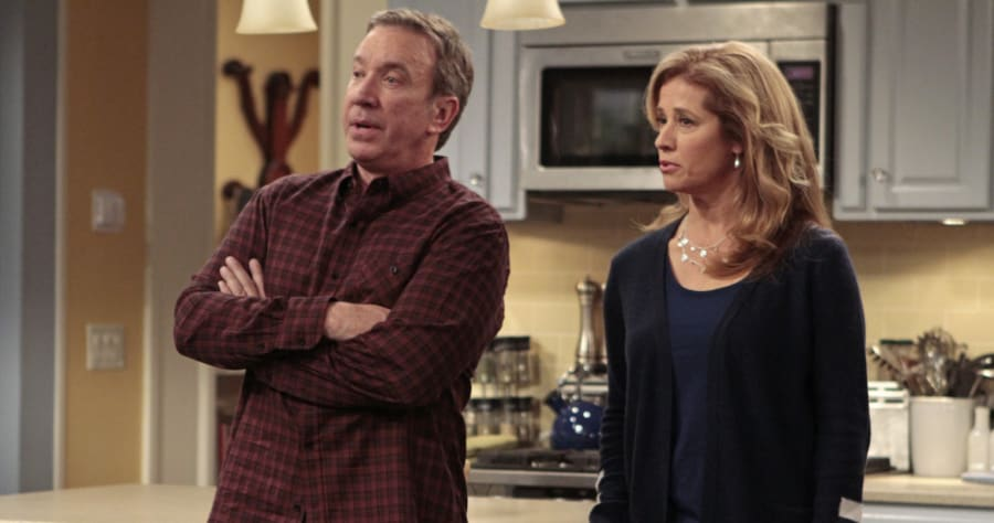 "LAST MAN STANDING - ""College Girl"" - Jonathan Taylor Thomas makes a special guest star appearance when he reunites with Tim Allen, his dad from ""Home Improvement."" When the less-than-studious Mandy gets accepted to not one but two colleges, Kristin realizes it's time to reevaluate where she is in her life. While out on a special date with Ryan, she is pleasantly surprised to see Jon (Thomas), a former co-worker from the diner where she still works, who is now the successful owner of a hip, upscale restaurant. Meanwhile, Mike and Vanessa wonder if Mandy's college choice, a party school in California, is right for her; and Eve gets help with her Junior ROTC competition from neighbor Chuck Larabee, on the Season Finale of ""Last Man Standing,"" FRIDAY, MARCH 22 (8:00-8:31 p.m., ET) on the ABC Television Network. (ABC/CARIN BAER)TIM ALLEN, NANCY TRAVIS"