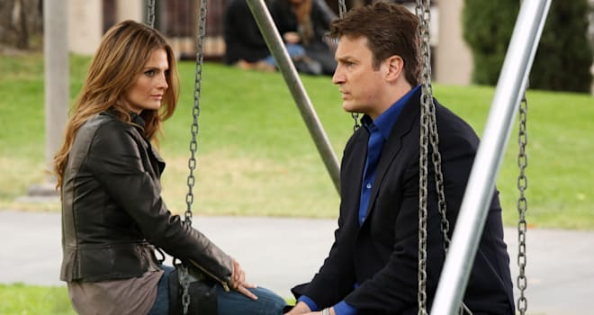 "CASTLE - ""Watershed"" - In the Season Finale, an interview with a high-profile federal law enforcement agency forces Beckett to reconsider what she wants out of her job -- and out of her relationship with Castle. Meanwhile, the body of a young woman is found floating inside the water tank of a skid row flop house, but as the team investigate, they discover that her final resting place is just one of many strange things about her death, on ""Castle,"" MONDAY, MAY 13 (10:01-11:00 p.m., ET) on the ABC Television Network. (ABC/Richard Cartwright)STANA KATIC, NATHAN FILLION"