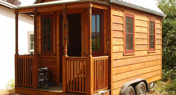 the tiny house on a hot summer morning