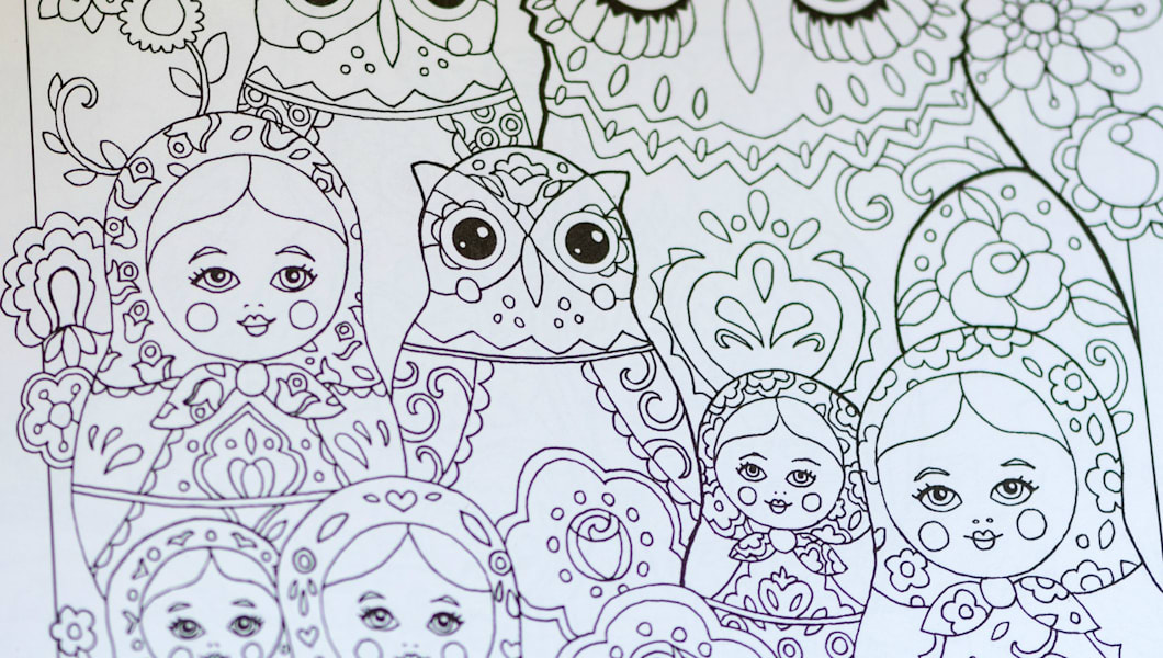 Adult Coloring Book Owl Russian Doll