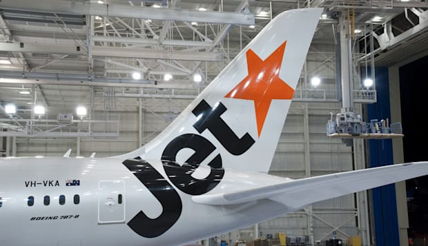 Our first Boeing 787 in its Jetstar livery
