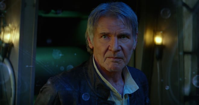 star wars, han solo, harrison ford, the force awakens, millennium falcon